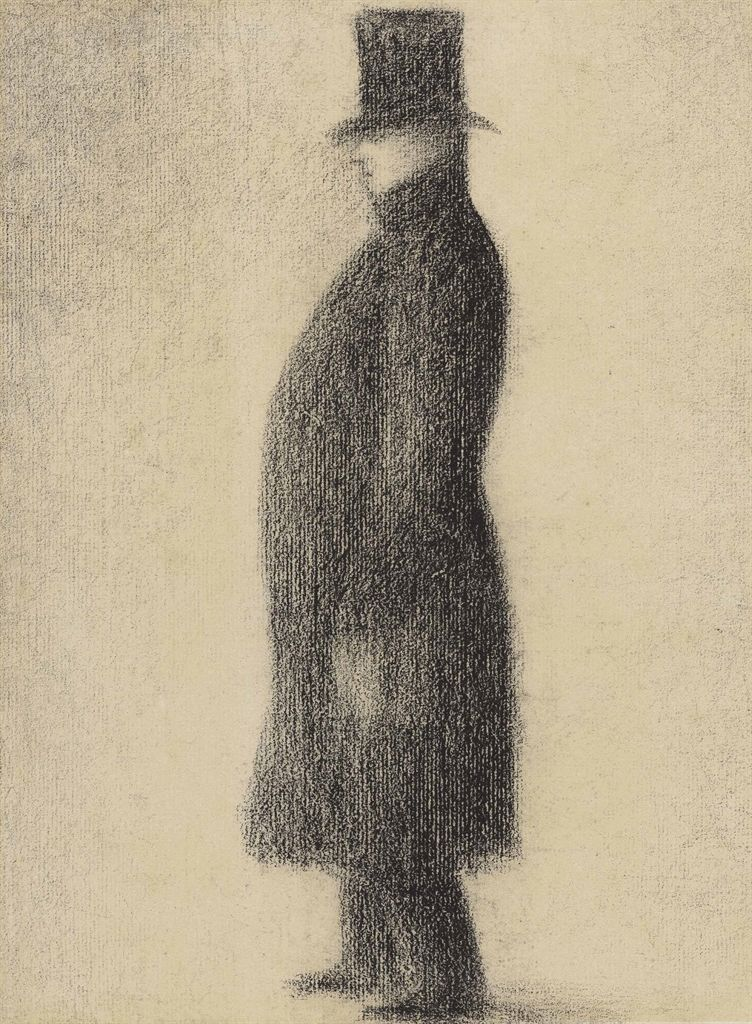Georges Seurat (French, 1859-1891), Le haut de forme [The topper], c.1883. Black Conté crayon on paper, 31.2 x 23.8 cm. ""