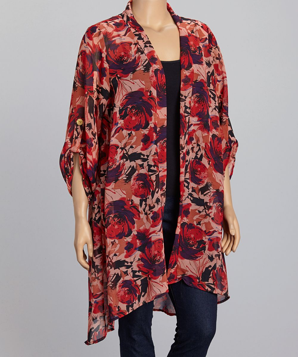 Red Sheer Floral Open Cardigan | kimono | Pinterest | Open ...