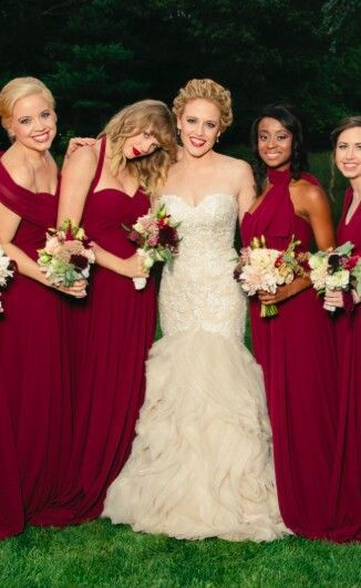 Abigail Anderson Wedding Photo With Best Friend Taylor Swift Serving As A Bridesmaid Celebrity Wedding Gowns Anderson Wedding Burgundy Bridesmaid Dresses