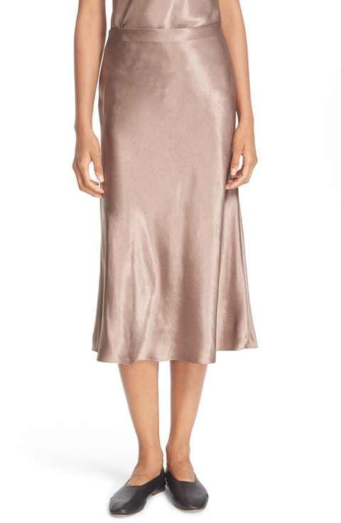 b16f08380a Vince Satin Flare Midi Skirt- make of coral bias cut satin | Things ...