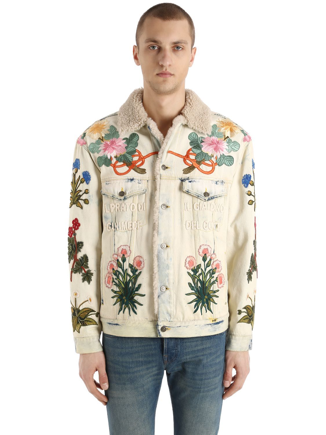6f878698dd3 GUCCI EMBROIDERED PATCH SHEARLING DENIM JACKET.  gucci  cloth ...
