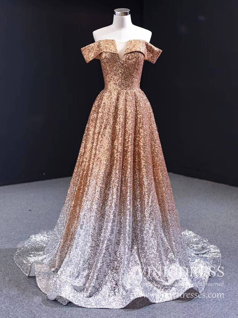Sparkly Gold Silver Ombre Sequin Long Prom Dresses Off The Shoulder Fd1771 Long Party Gowns Prom Dresses Long Dresses [ 1024 x 768 Pixel ]