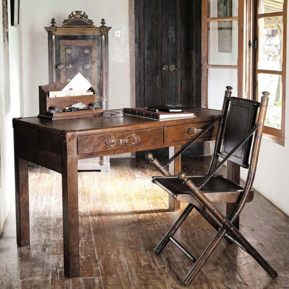 bureau en cuir marron maisons du monde bureau. Black Bedroom Furniture Sets. Home Design Ideas