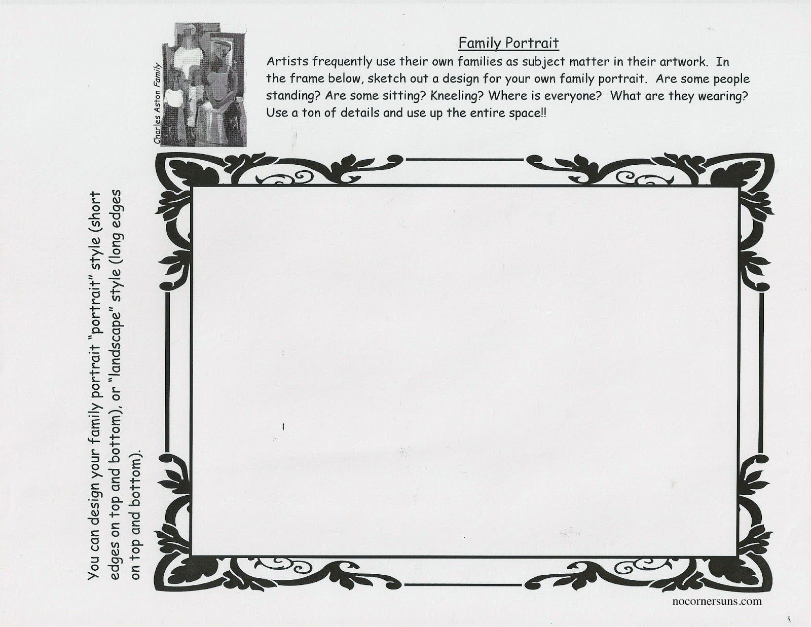 No Corner Suns: Family Portrait Worksheet and Sculpture Handout   Art  worksheets [ 1237 x 1600 Pixel ]