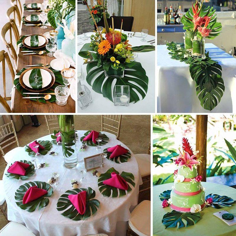 12pcs Artificial Green Palm Leaves Hawaiian Simulation Home Beach Party Decor US