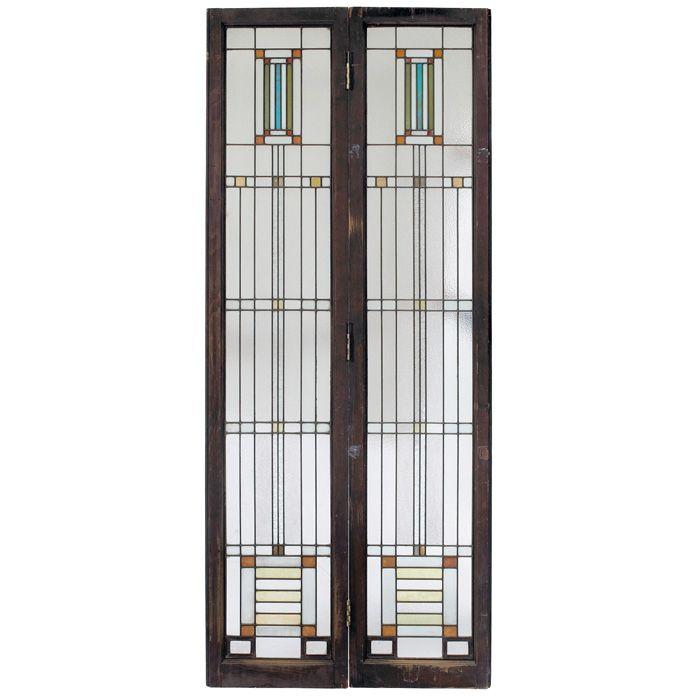 Prairie School Pair of Leaded Glass Light Screen Doors. Clear ...