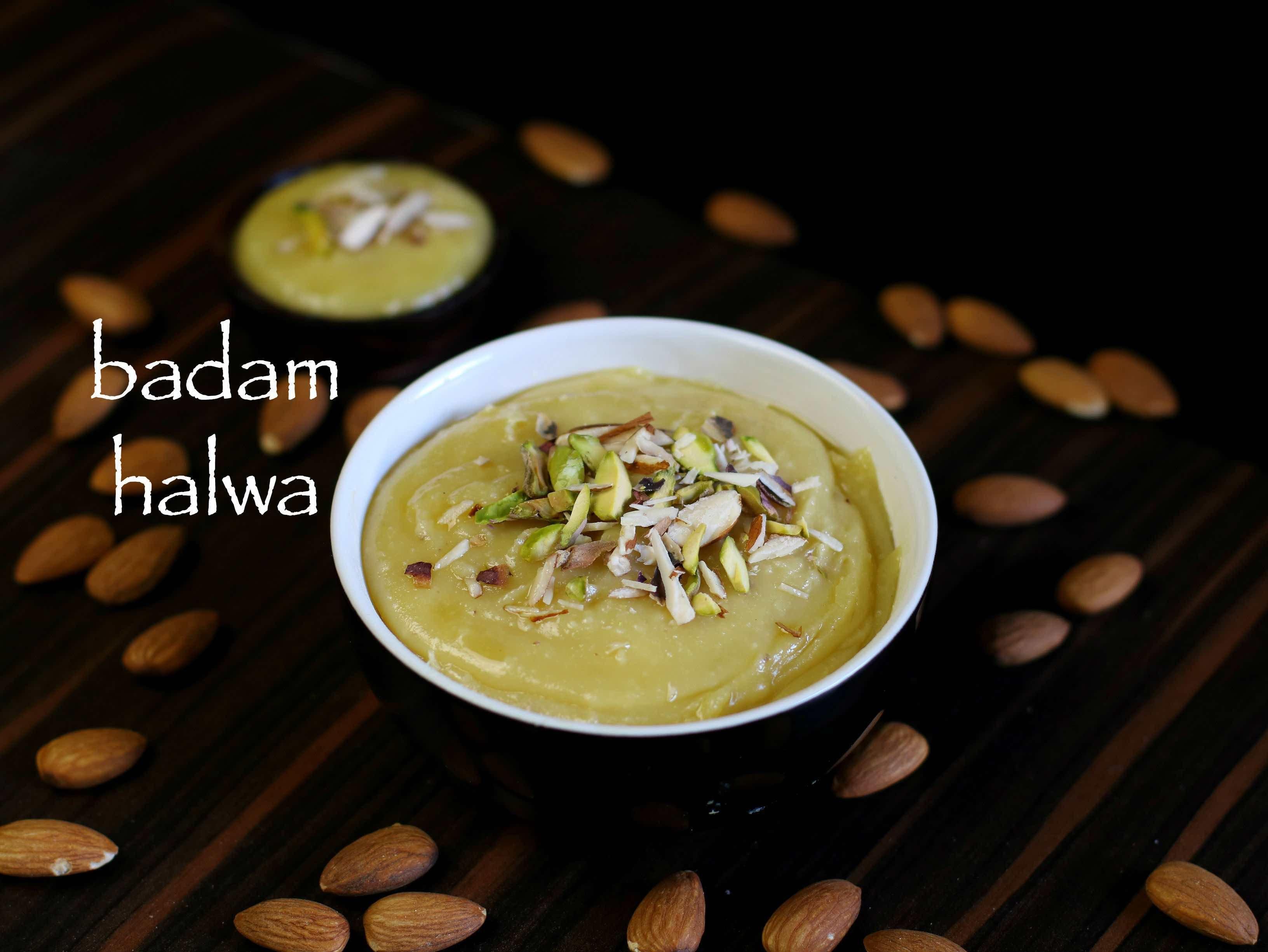 badam halwa recipe badam ka halwa almond halwa recipe recipes homemade recipes garlic on hebbar s kitchen halwa id=37492