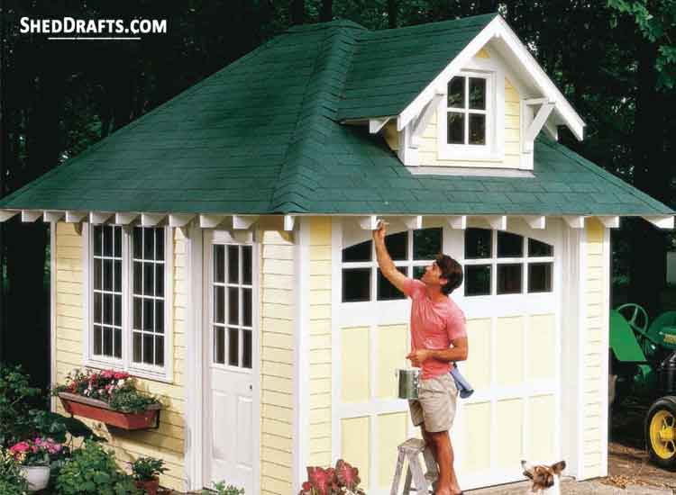 10 12 Hip Roof Storage Shed Dormer Plans Blueprints To Assemble Potting Shed In 2020 Building A Storage Shed Cottage Storage Shed Plans