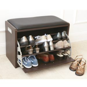 Small Shoe Storage Bench With Cushion