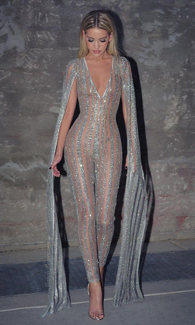 Nearly Naked Glitter Striped Nude Silver Plunge V Neck