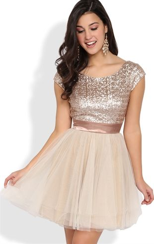 Short Prom Dress with Sequin Cap Sleeve Bodice and Full Tulle ...