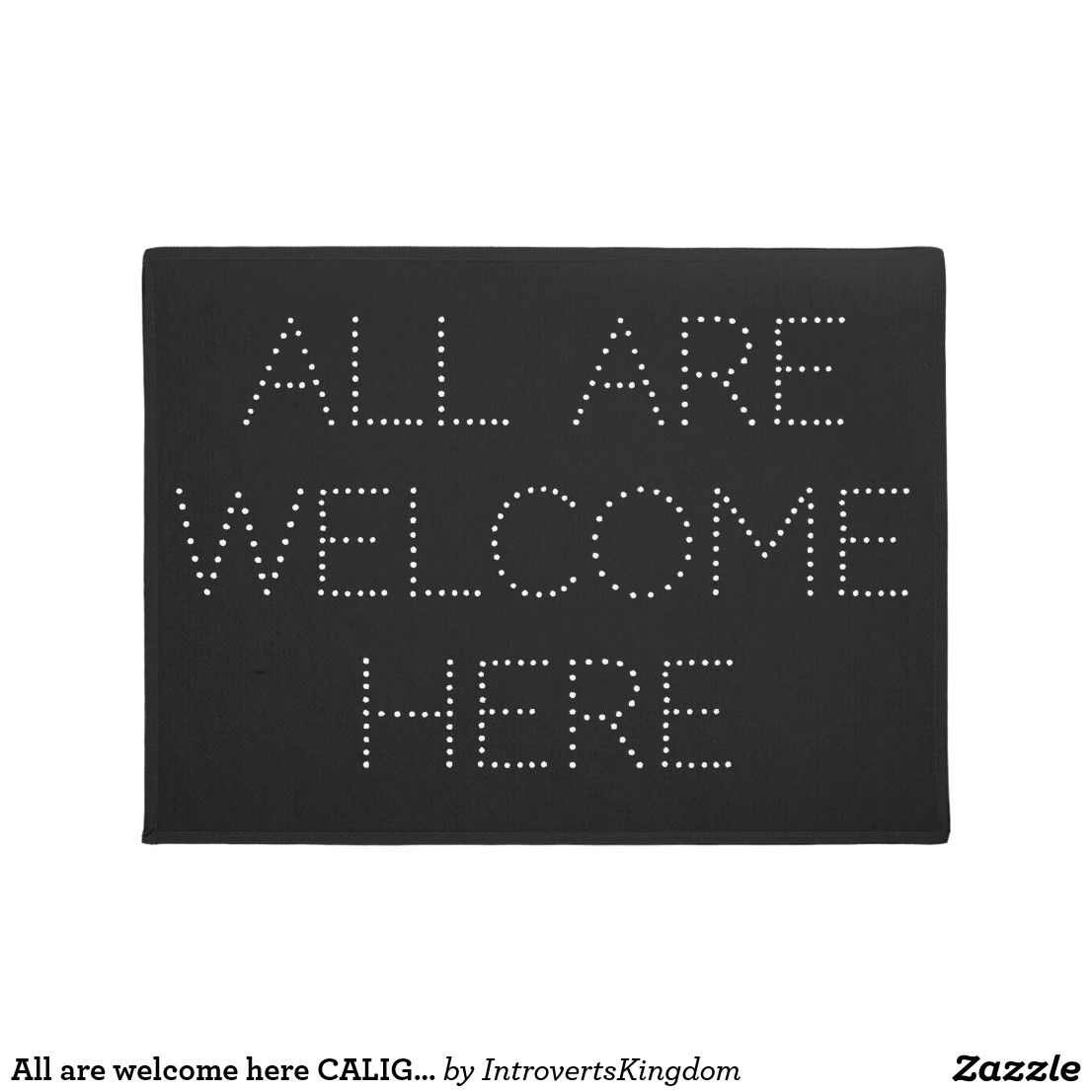 All are here CALIGRAPHY Black Modern Doormat
