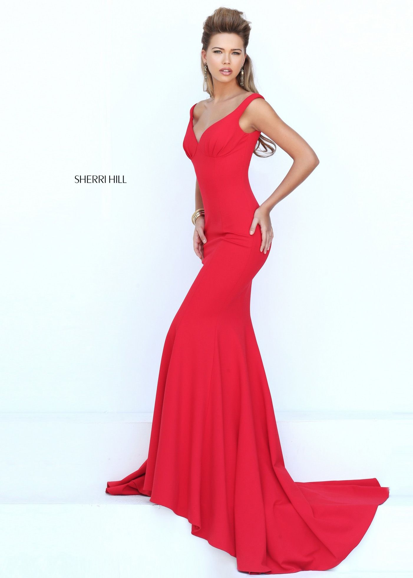 2016 Red Fit Flare Sherri Hill 50441 Red Carpet Evening Gown 2016 ...