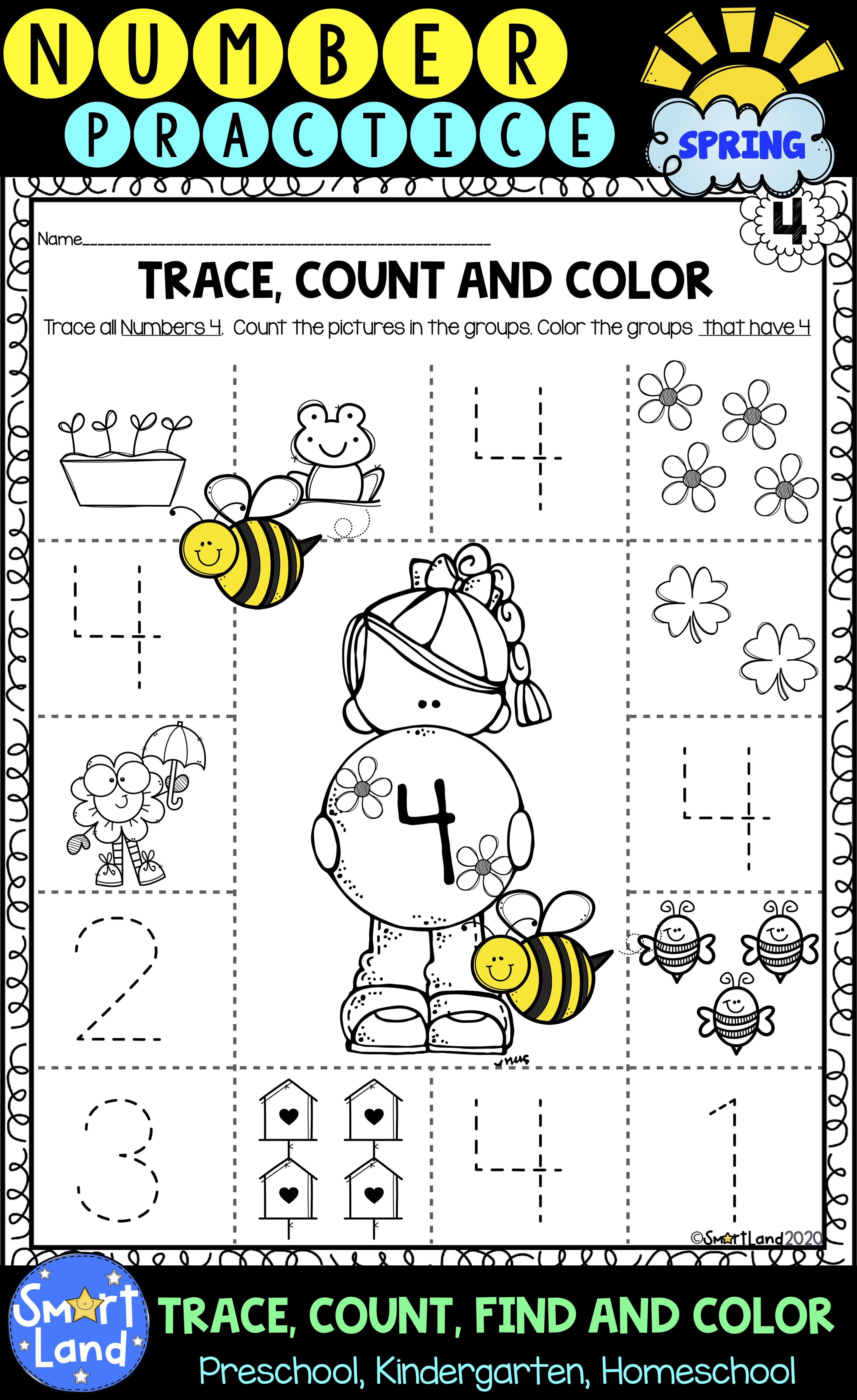 Number Practice 1 10 Trace Find Color Spring