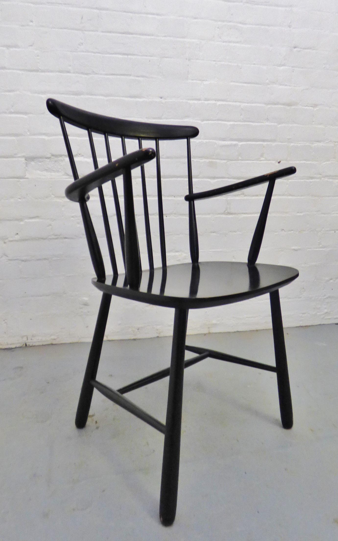 1960s Danish black FDB Poul Volther armchair www