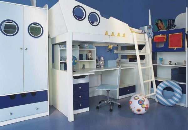 hochbett für kinderzimmer-schiff design-blaue wandfarbe | bett ... - Kinderzimmer Junge Blau