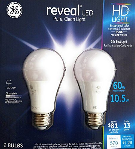 Ge 10 5 W Reveal Led Hd Light Bulbs 2 Pack 60w Replacement Dimmable Radiant White Clarity Energy Efficient 60 Watt Light Bulb Light Bulbs Bulb