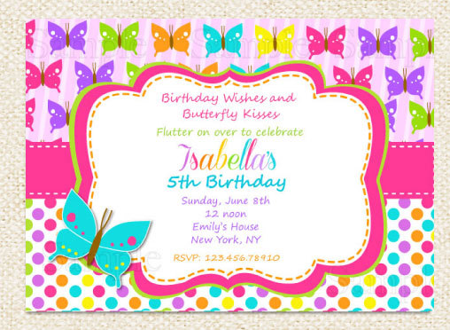 Butterfly Invitation Butterflies and Flowers Birthday Invitation