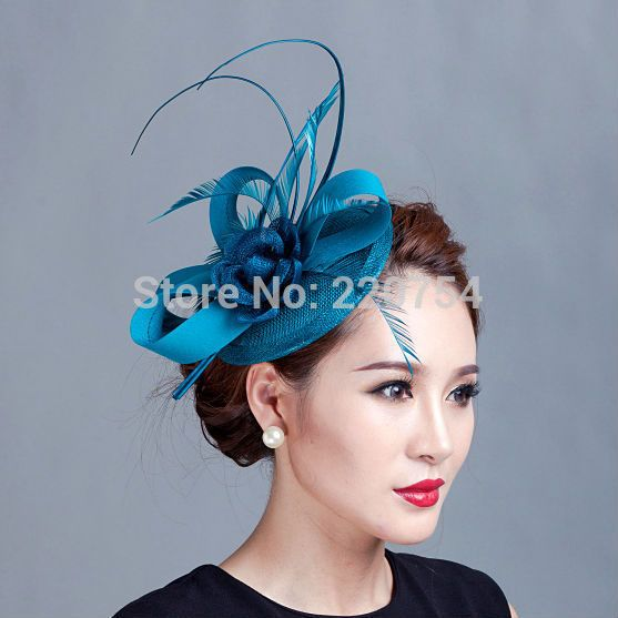 Ladies cocktail fascinator flower feather sinamay fascinator women hair  accessories elegant fascinators for wedding races7COLORS db4fe753f4c