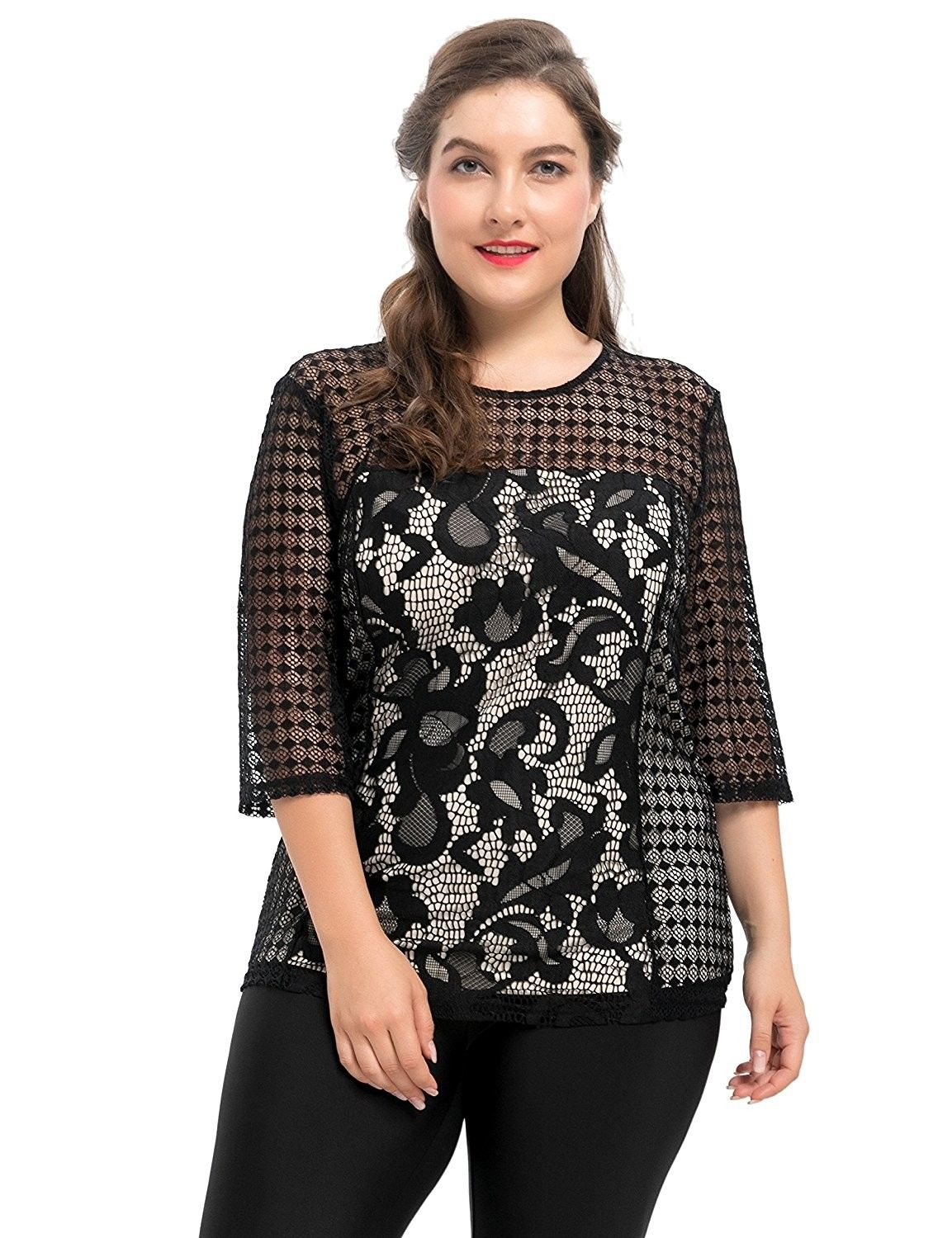 35b6651fcf9ee Women s Stretch Contrast Lined Plus Size Floral Printed Lace Top 1X ...