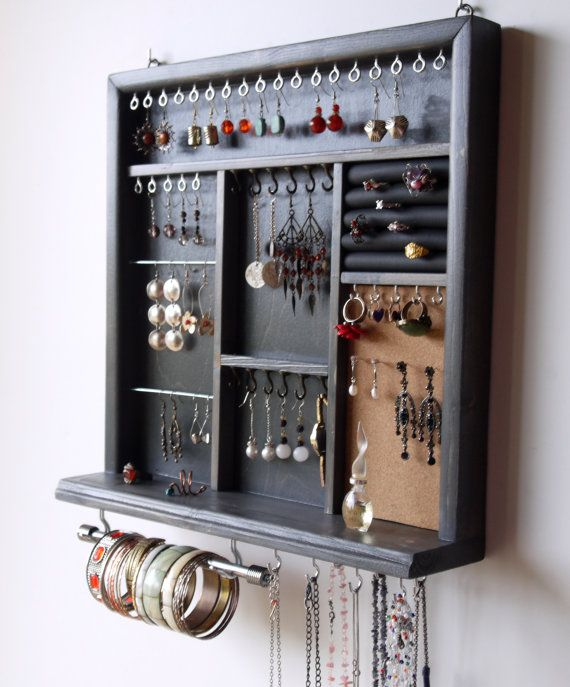 Jewelry Display Earrings Display Necklace Holder Blue Gray Stain