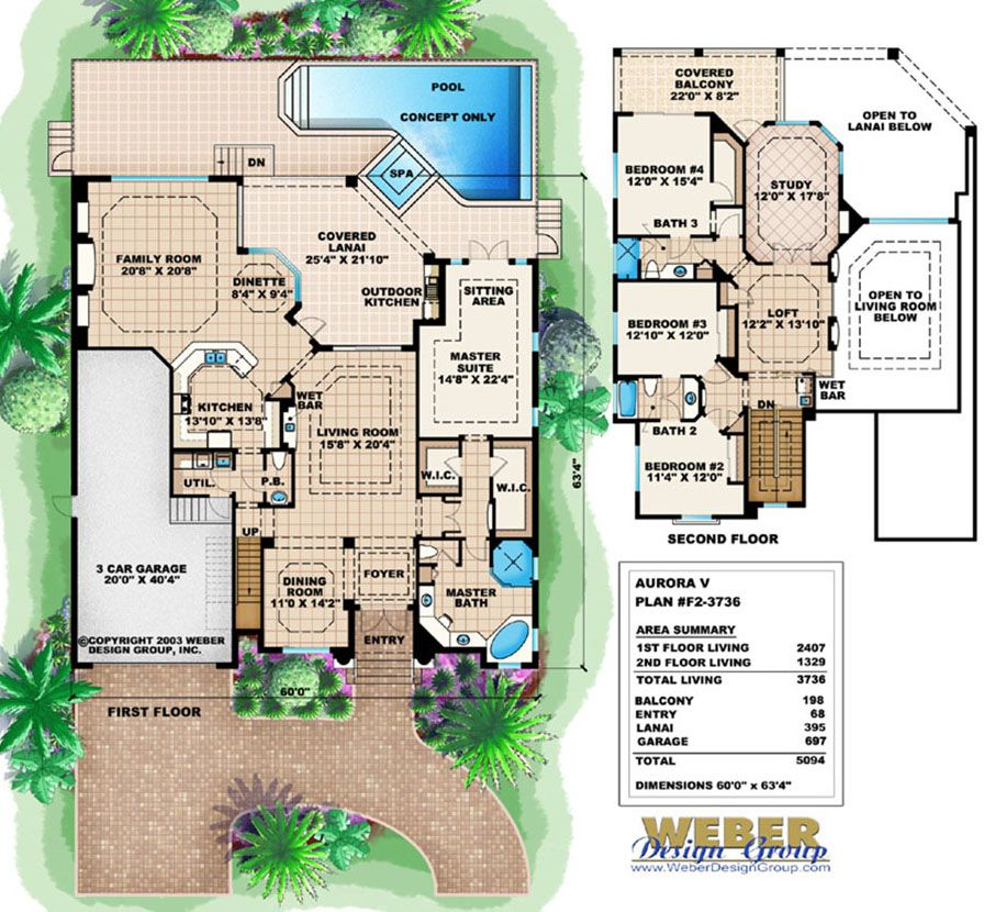 Aurora V Mediterranean House Floor Plan Full Color   Weber Design Group;  Naples, FL.