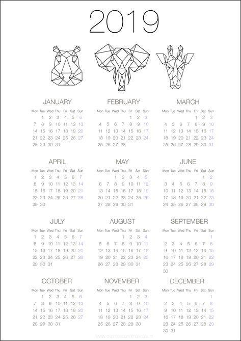 calendars 2019 - free download