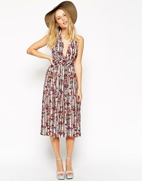 Enlarge ASOS Pretty Floral Pleated Plunge Dress