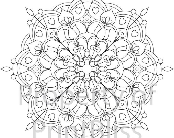 A flower Mandala printable coloring page in PDF file