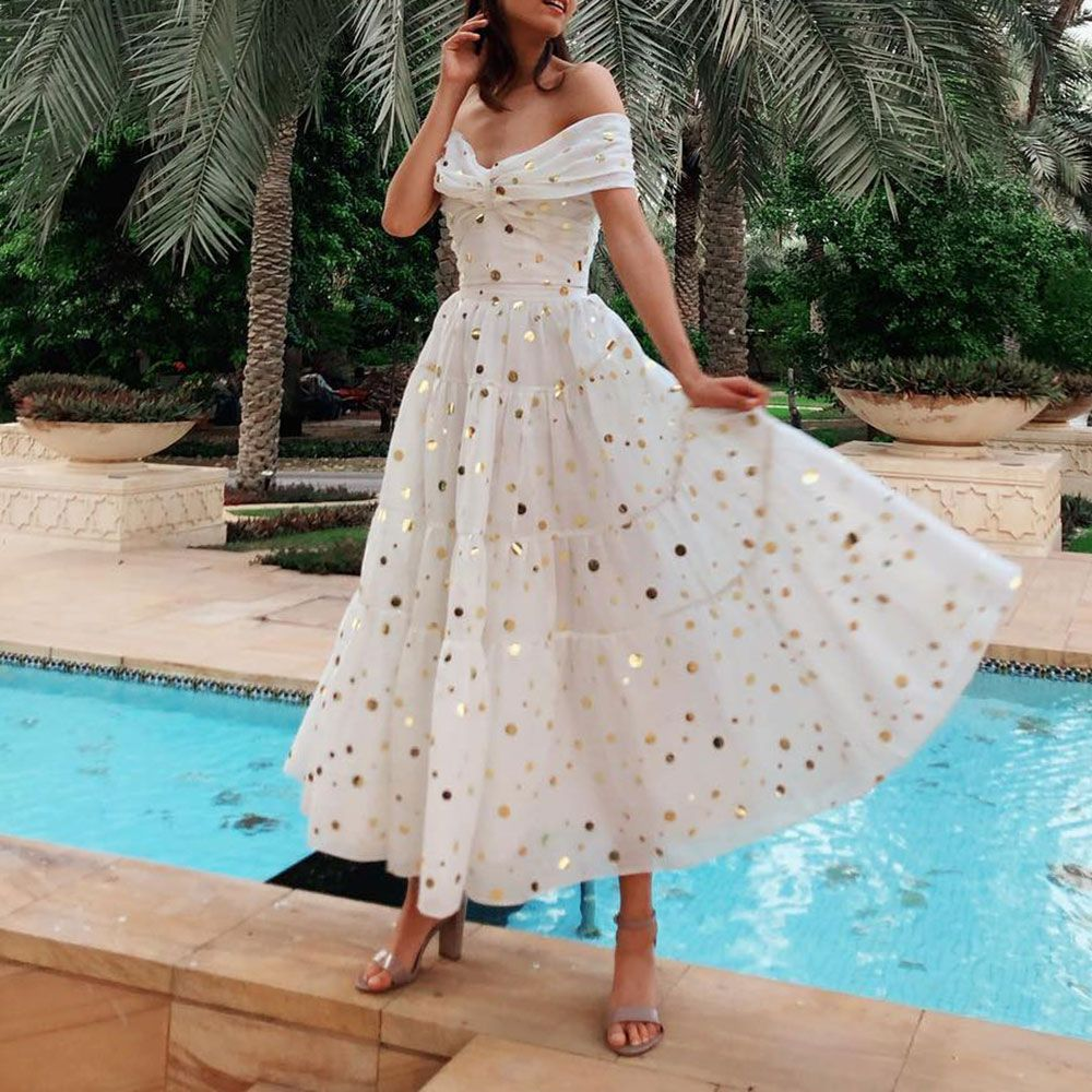 Pin auf Sexy V-Neck Maxi Vacation Dress With A Shimmering Dot