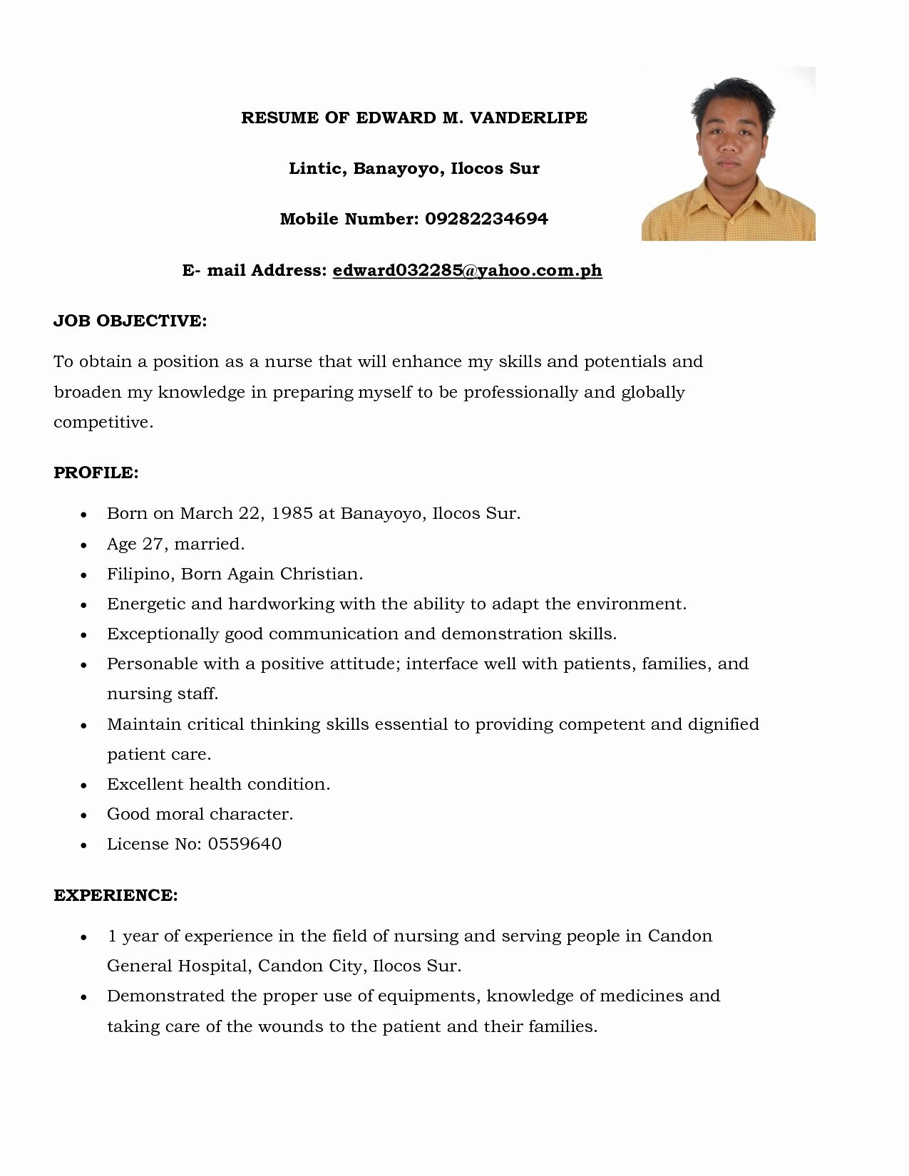 Rn Resume Samples Awesome Sample Nursing No Experience Examples 2012