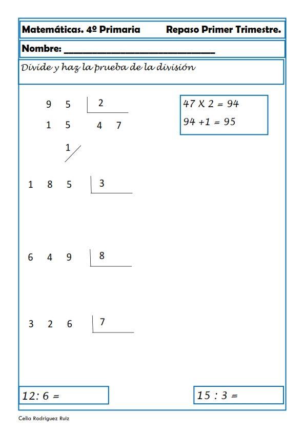 Matemáticas. Fichas para cuarto de primaria | matematicas 4 | Pinterest