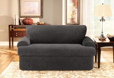 Sure Fit Stretch Pique Three Piece T Cushion Loveseat Slipcovers T Cushion Sofa Slipcover Slipcovers 3 piece t cushion sofa slipcover