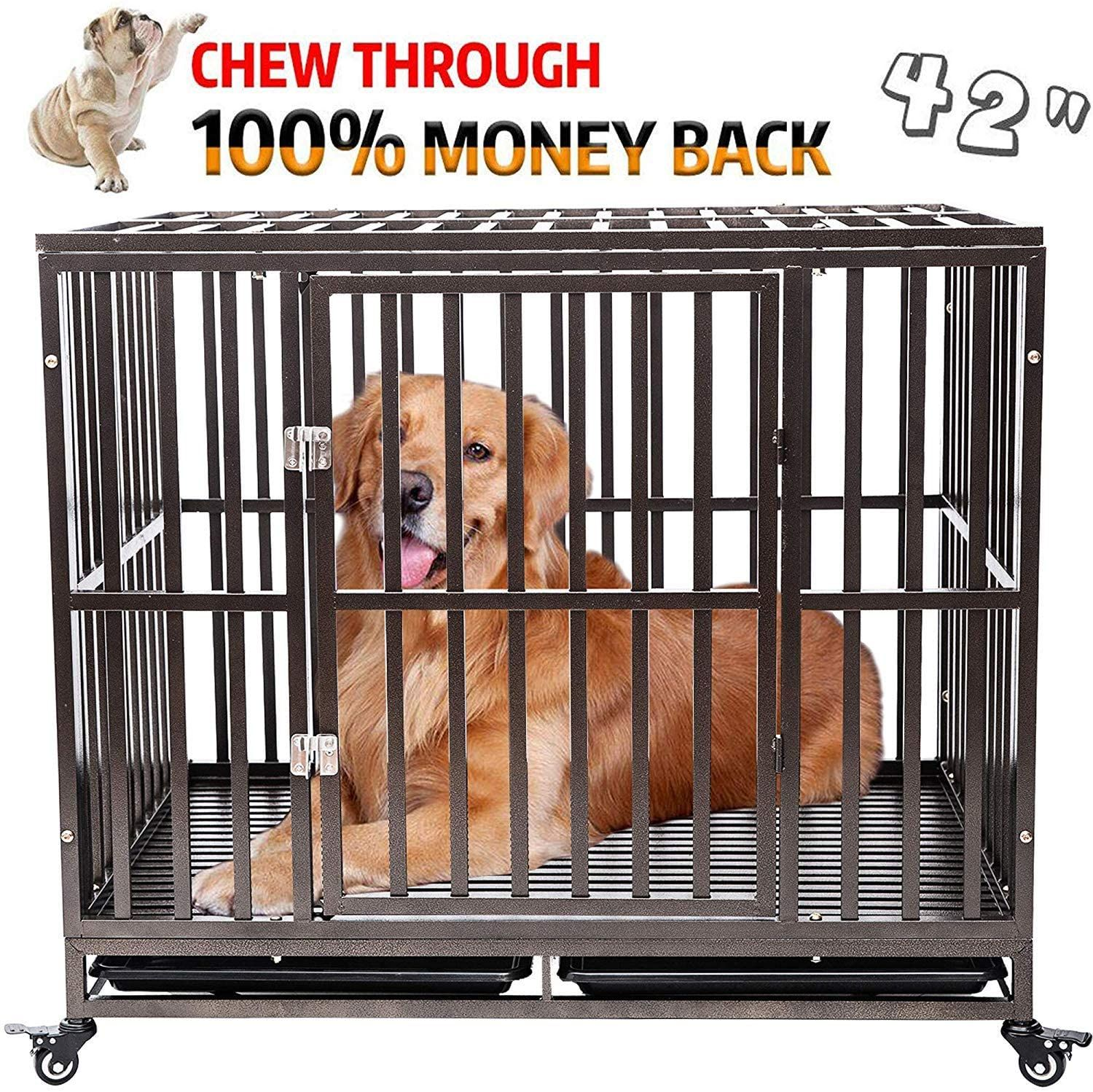 Gelinzon Heavy Duty Dog Cage Crate Kennel Roof Strong Metal For Large Dogs Easy To Assemble Pet In 2020 Dog Cages Pet Playpens Large Dogs