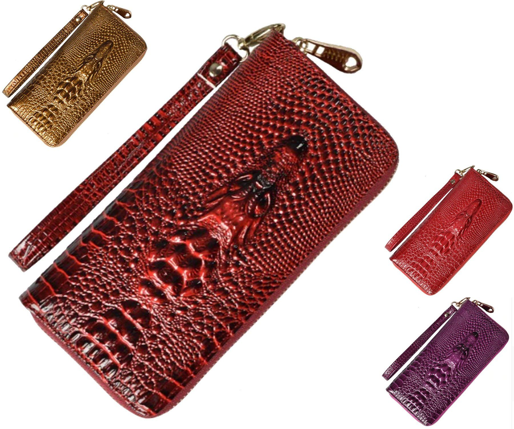 Embossed Leather Wallet With Detachable Strap Crocodile Embossed Wallet Card Holder Coin Purse Long Womens Wallets With Wristlet By Welovemgift On Etsy