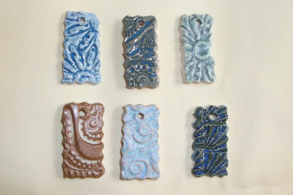 Lot of 6 Assorted Blue Brown Textured Ceramic Rectangle Pendants Handcrafted #Handcrafted