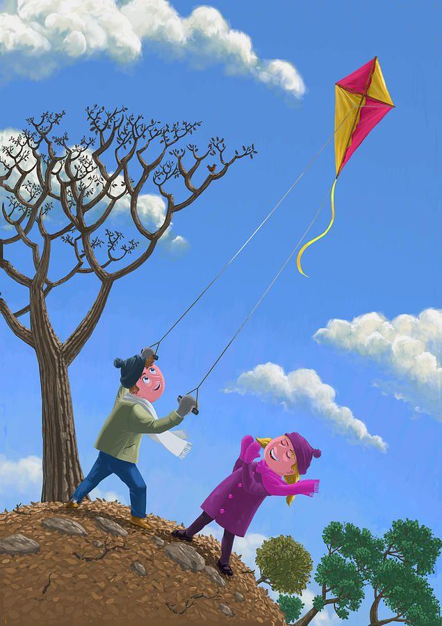 Flying Kite On Windy Day By Martin Davey Kite Flying Windy Day Kite