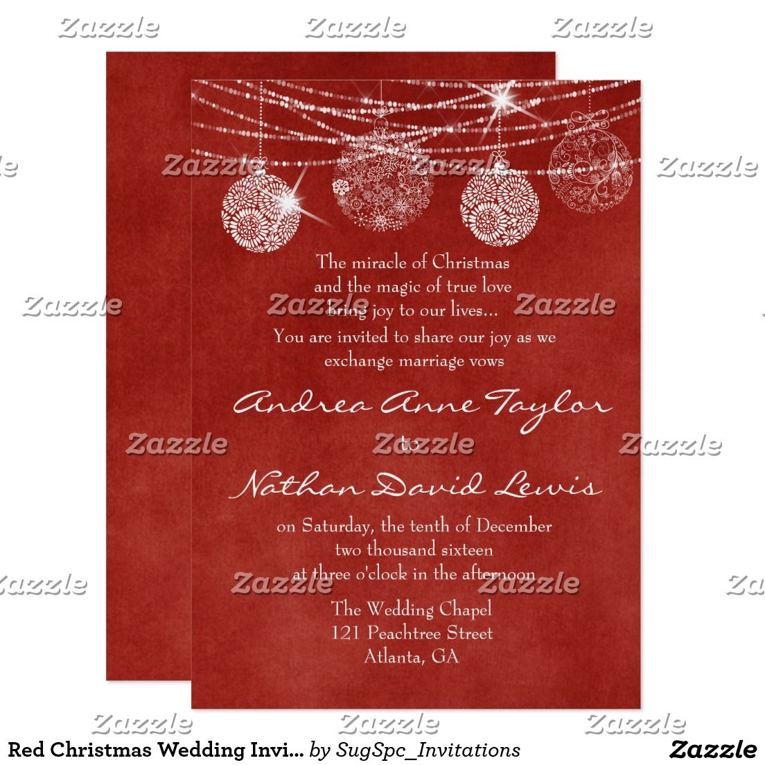 Red Christmas Wedding Invitation String Lights | WINTER WEDDING ...