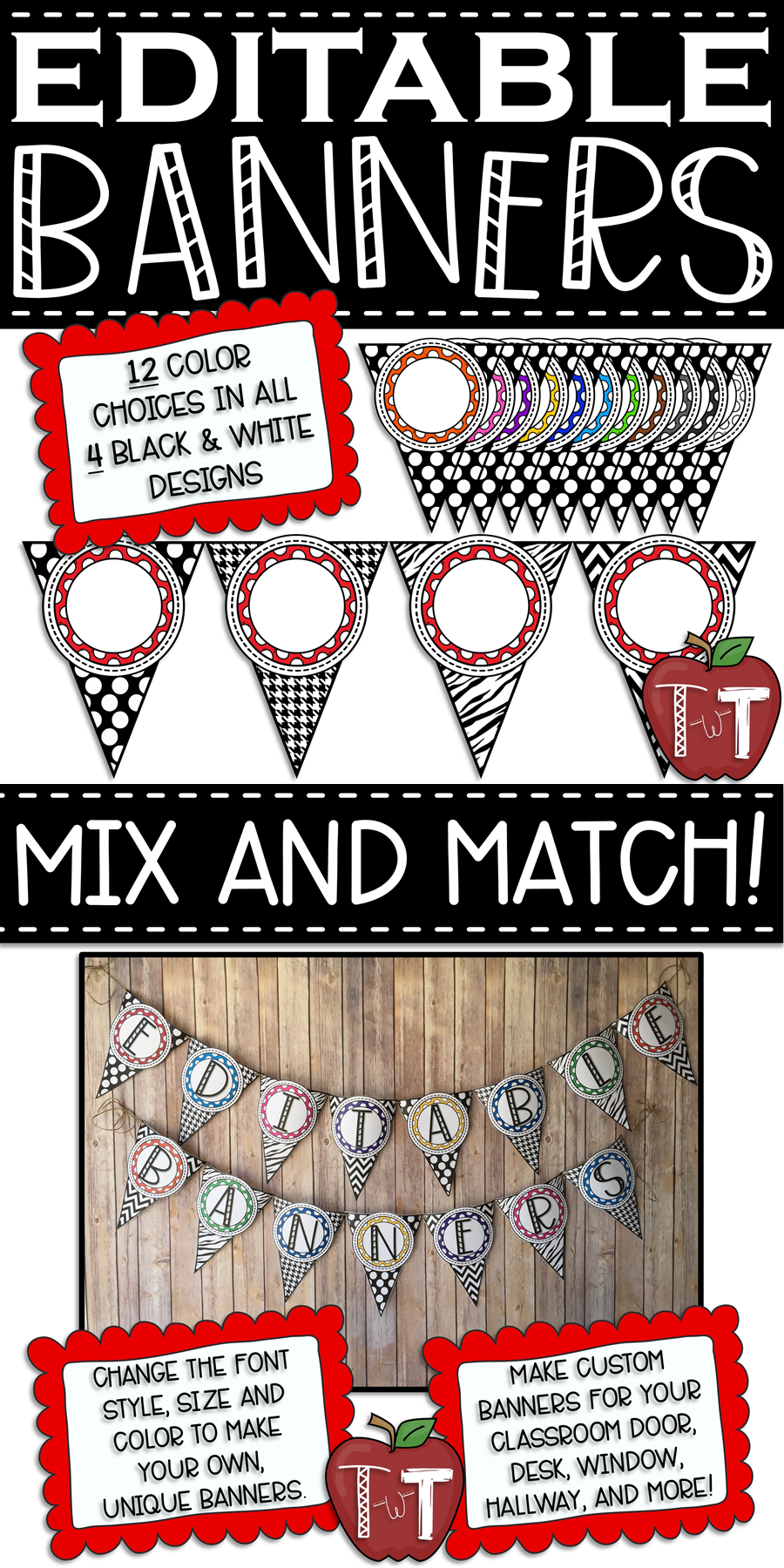 EDITABLE Banner Pennants | Teaching With Terhune | Classroom