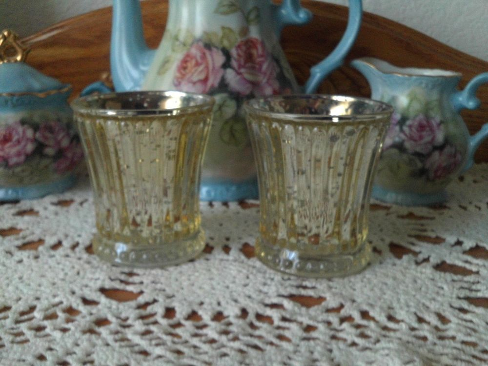 Pair Better Homes and Gardens Gold Mercury Glass Look