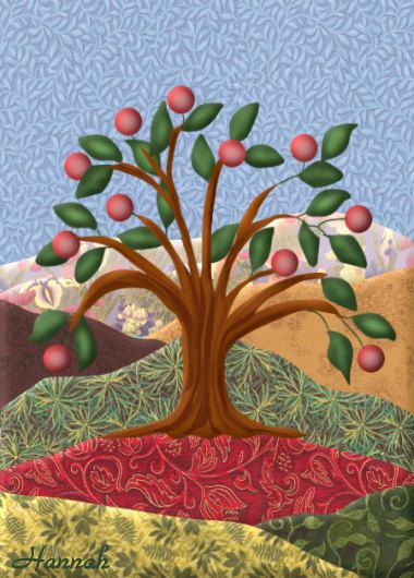 Painting ACEO Apple Tree Quilt Picture Original Graphic | Hannah's ... : apple tree quilting - Adamdwight.com