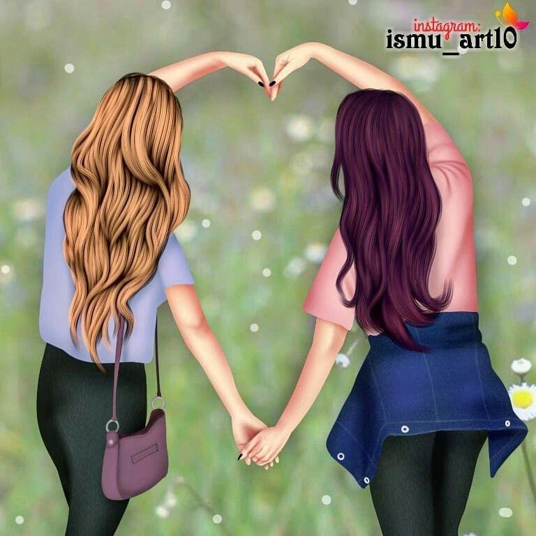 Две лучшие подруги рисунки блондинка и брюнетка