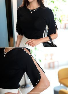 Photo of Pearl Trim Open-Shoulder Knit Tee