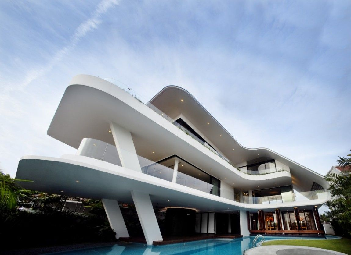 Modern mansion defined by curves and tropical vegetation singapore patrick bingham hall click