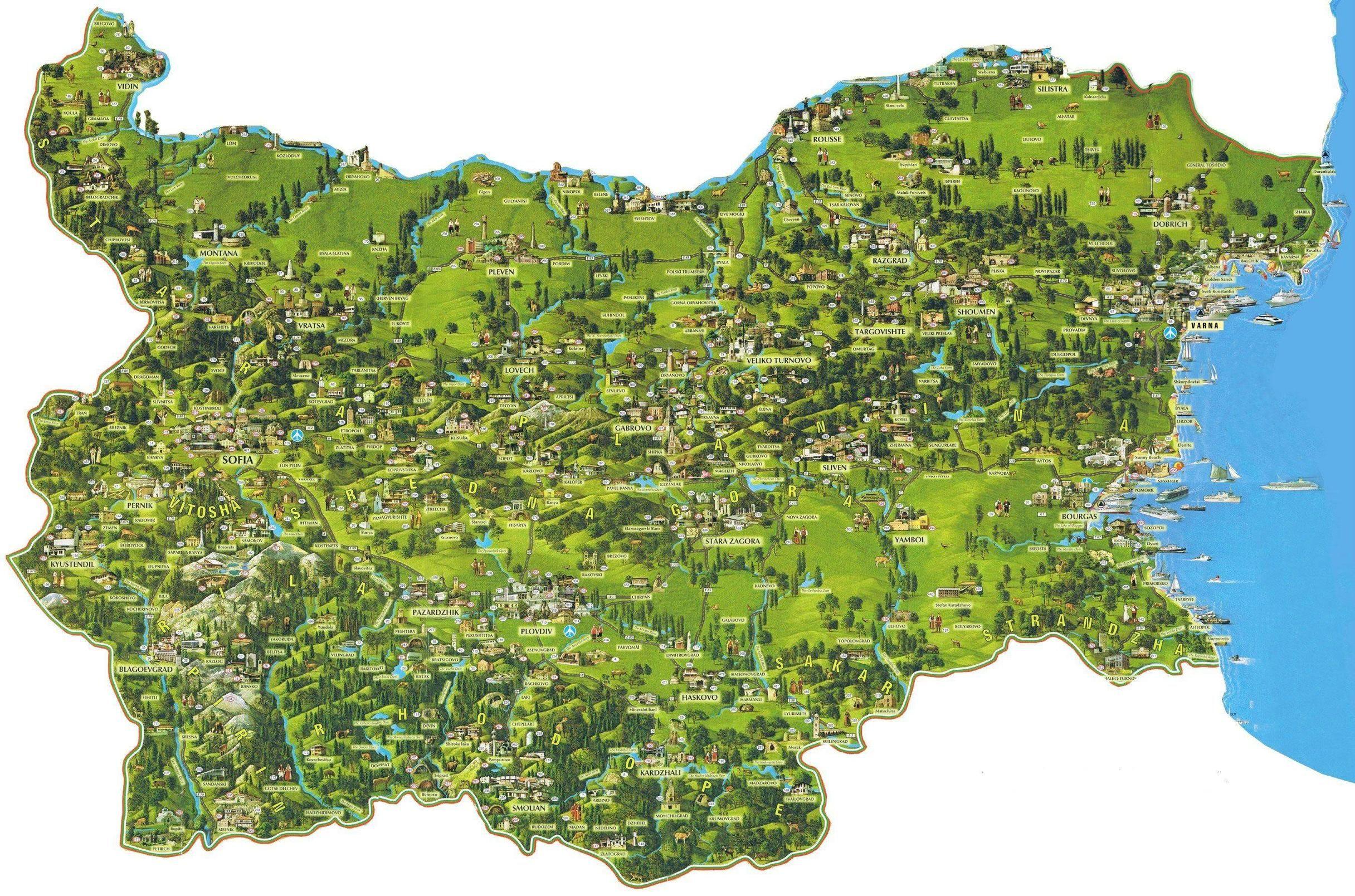 Turisticheska Karta Na Blgariya Tourist Map Of Bulgaria Tourist