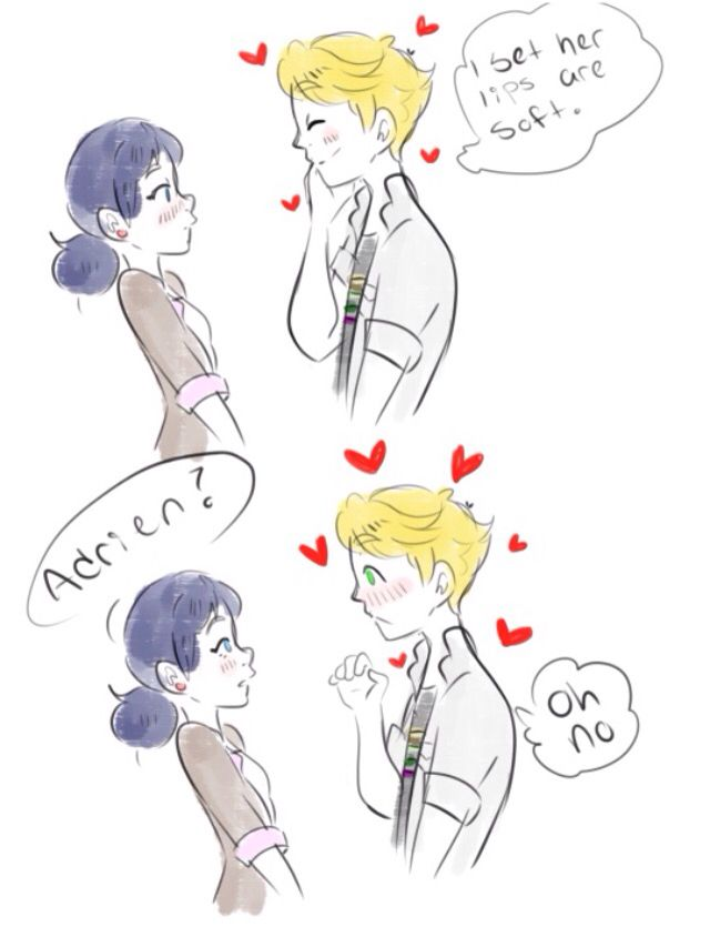 Adrien realizing he has a crush on Marinette and he can't
