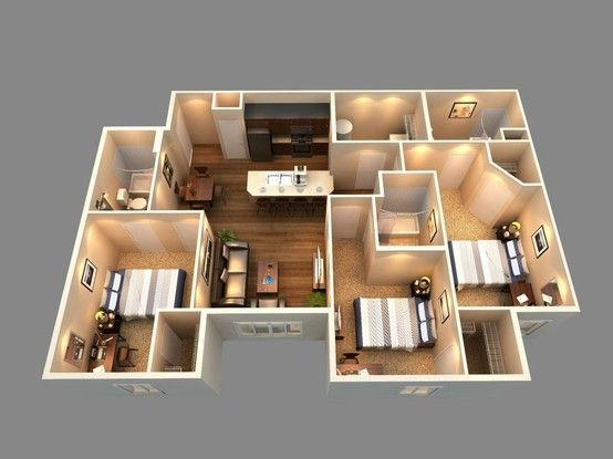 This is a 3d floor plan view of our 3 bedroom 3 bath for 3 bedroom interior design