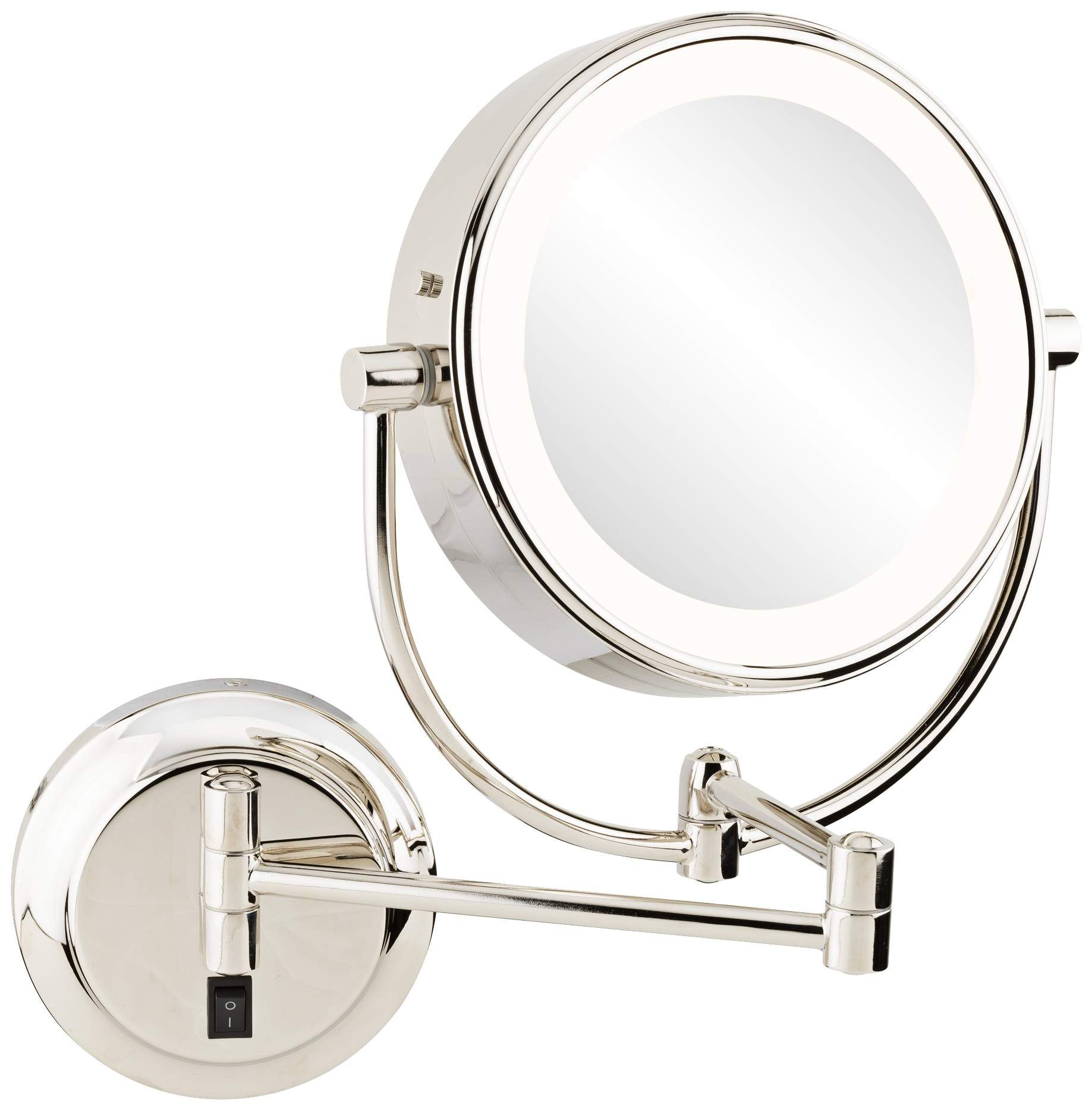 Mirrors Neomodern Polished Nickel LED Wall Makeup Mirror