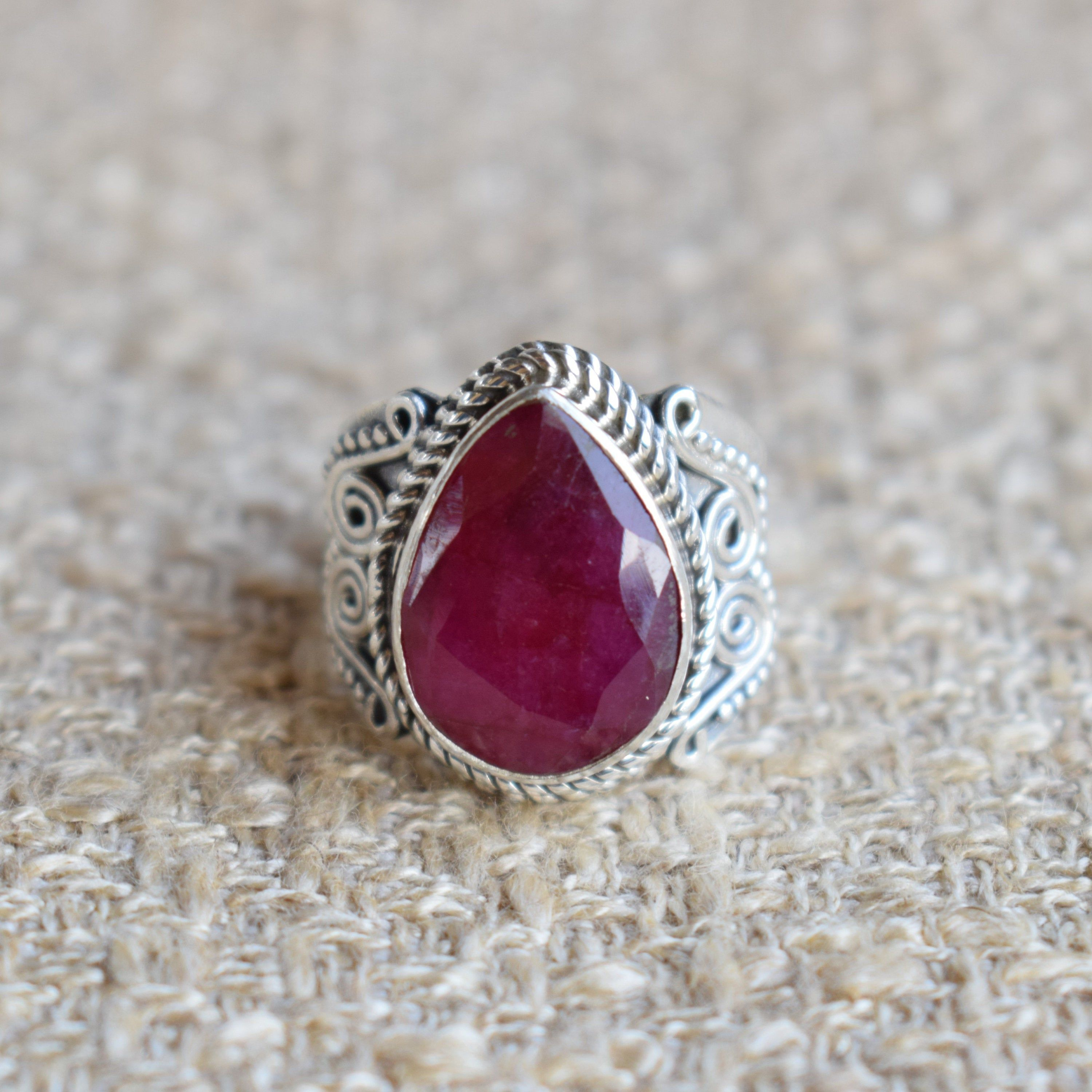 Ruby Ring-Red Ruby Gemstone Ring-Handmade Silver Ring-925 Sterling Silver Ring-Designer Teardrop Ruby Ring-Gift for her-Promise Ring