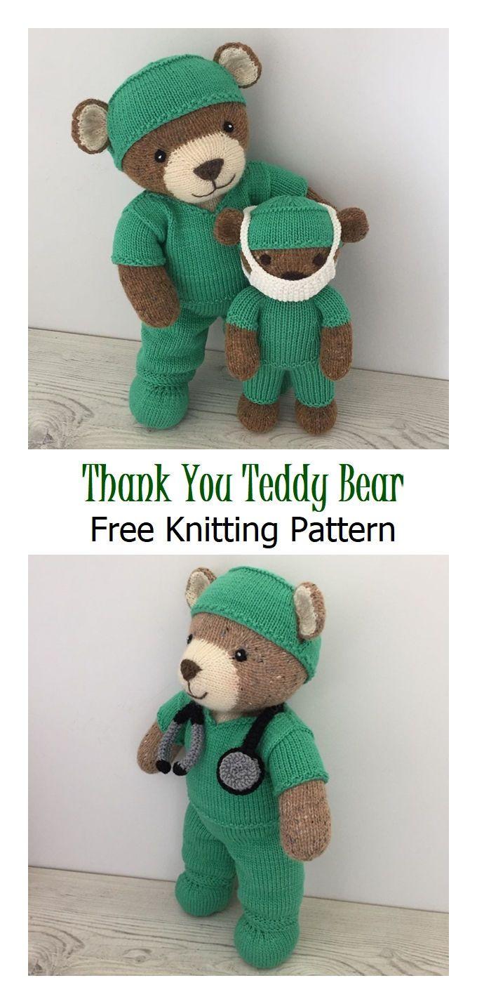 Thank You Teddy Bear Free Knitting Pattern